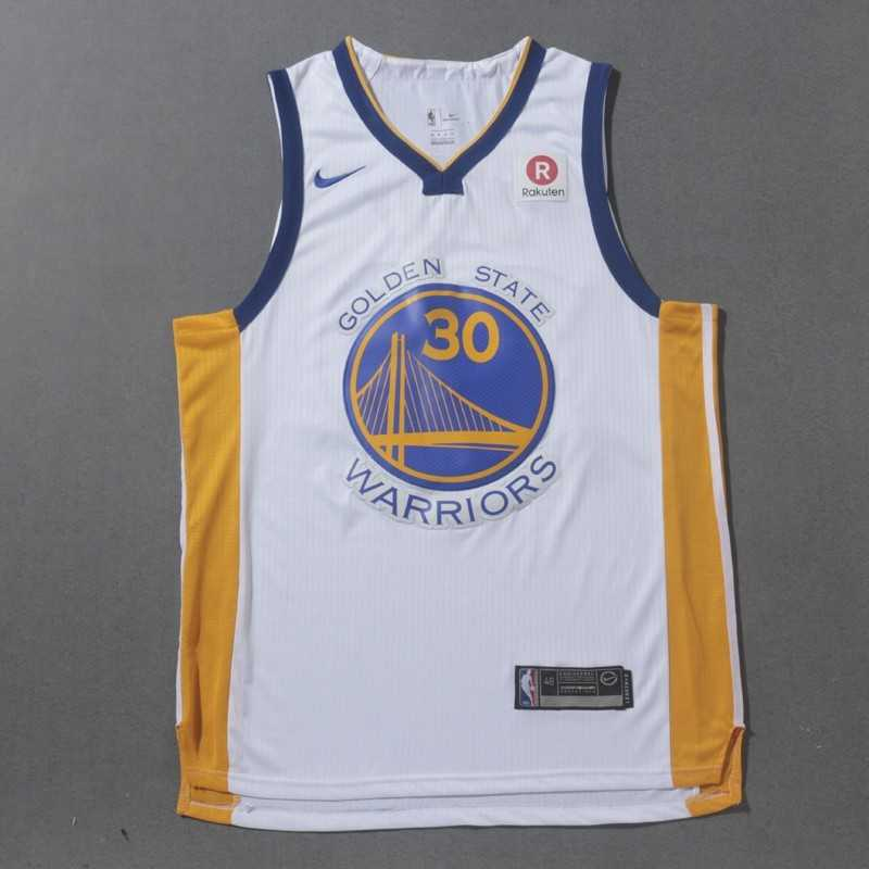 Camiseta 2018 Stephen Curry 30 blanca Golden State Warriors