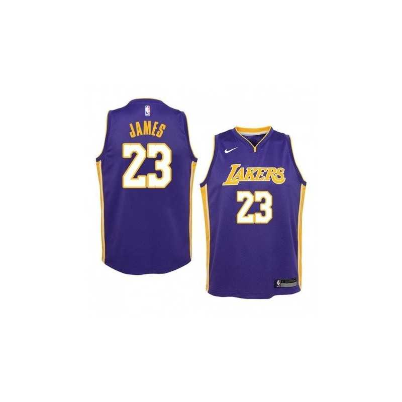 Camiseta Niños 2018 Lebron James 23 morada Angeles Lakers