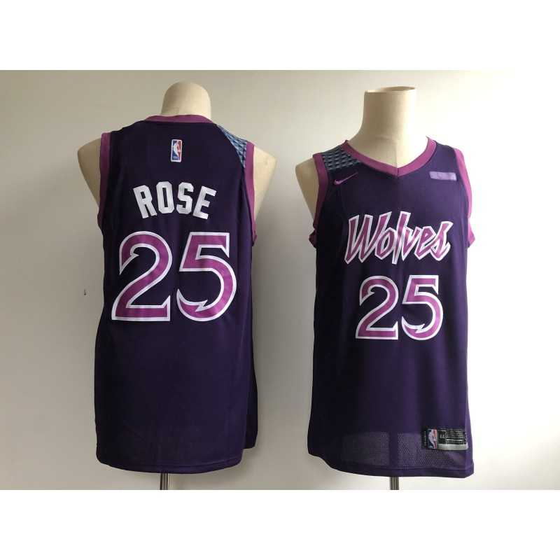 Camiseta 2019 Rose 25 negra Minnesota Wolves city