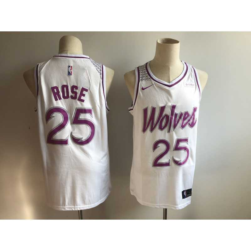 Camiseta 2019 Derrick Rose 25 blanca Minnesota Wolves city