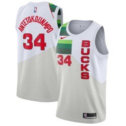 Camiseta 2019 Antetokunmpo 34 blanca Milwaukee Bucks
