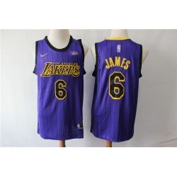 Camiseta 2019 Lebron James 6 morada Angeles Lakers city