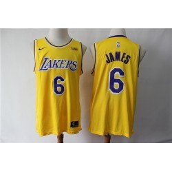 Camiseta 2019 Lebron James 6 amarilla Angeles Lakers