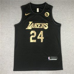 Camiseta Kobe Bryant 24 Angeles Lakers Gold negra